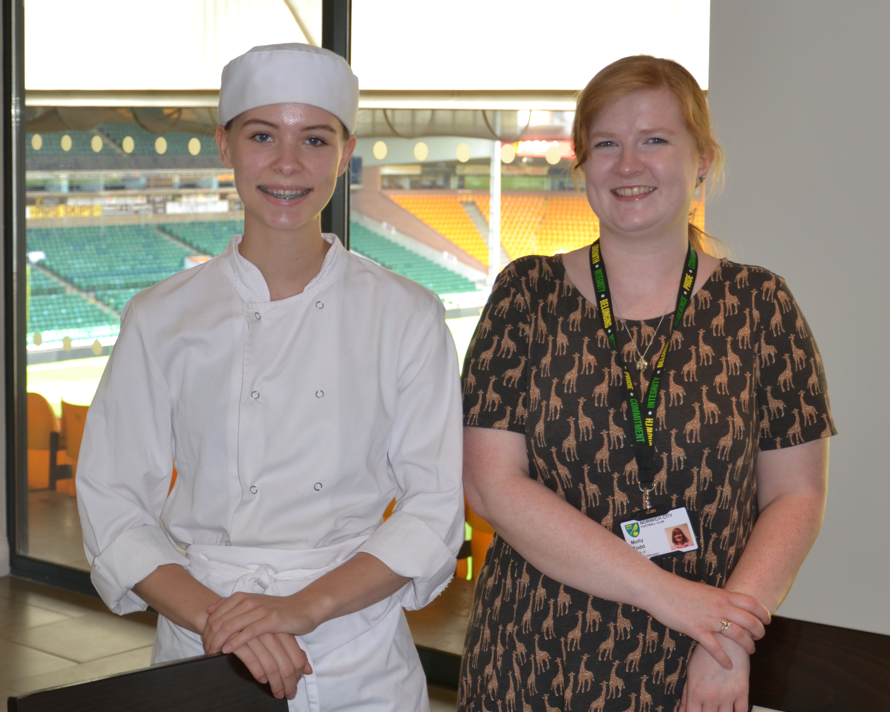 Ellie Bland and Molly Todd (Delia's Canary Catering Back of House Manager)