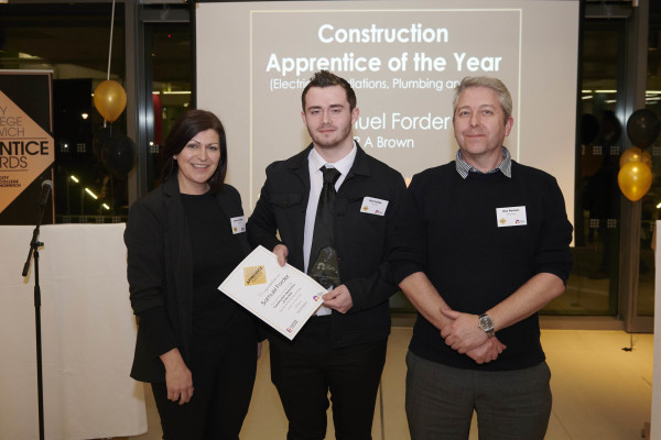 Sam Forder Construction Apprentice of the Year Photo credit ANDI SAPEY