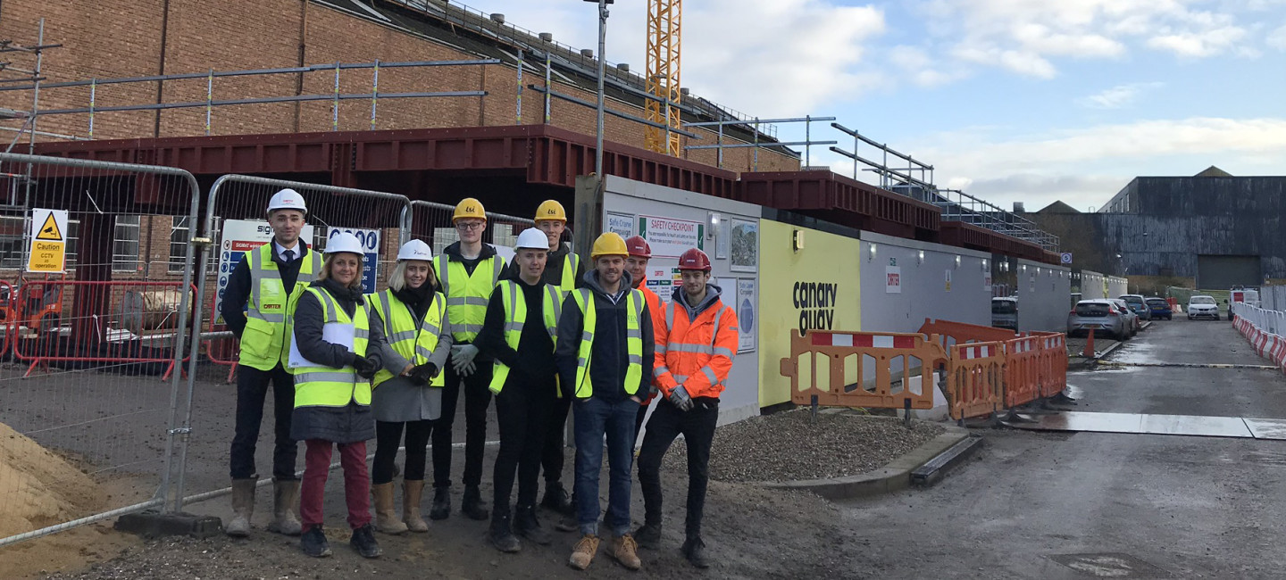 HND Construction students at Canary Quay site in Norwich