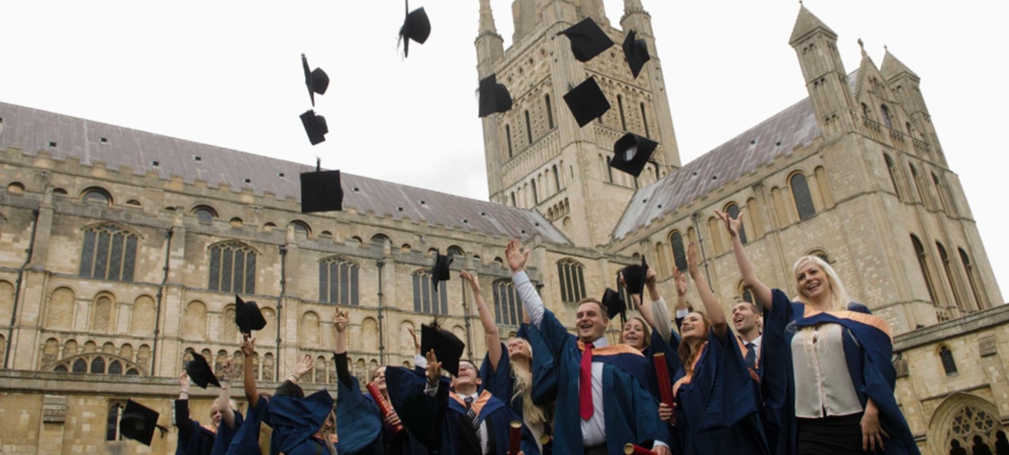 Norwich Cathedral Graduation hat throwing