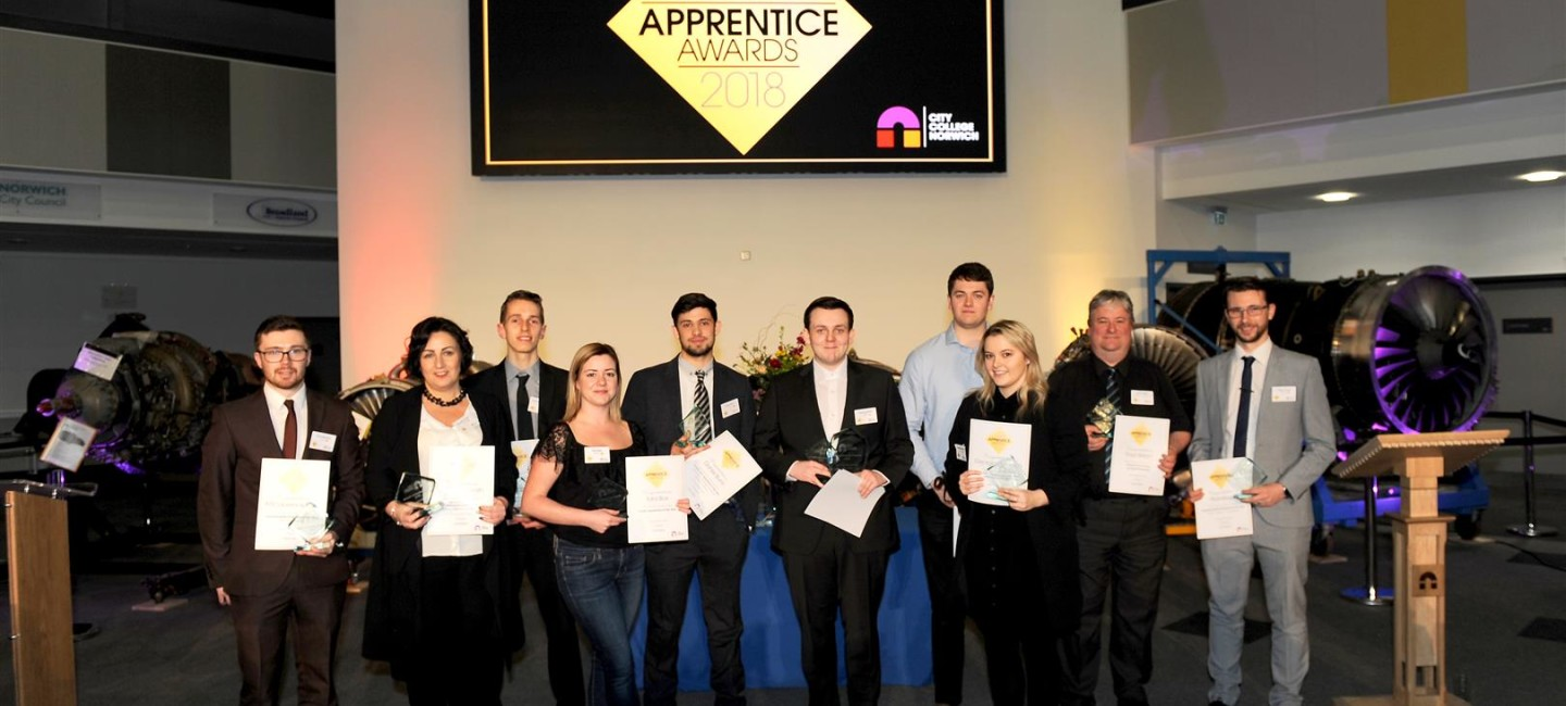 Award-winners-at-City-College-Norwich-2018-Apprenticeship-Awards