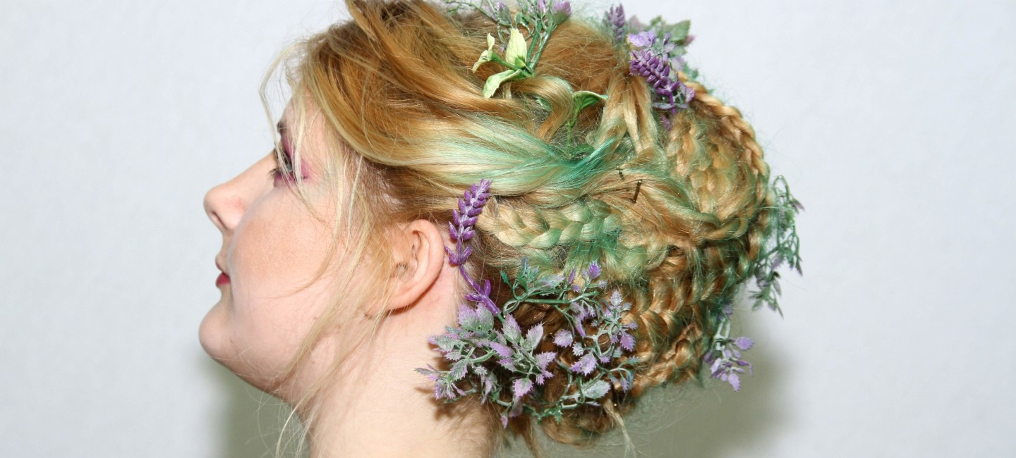 Female model with hairstyle inspired by a nature theme