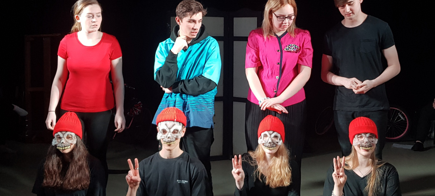 City College students performing You Reap What You Sow show on stage