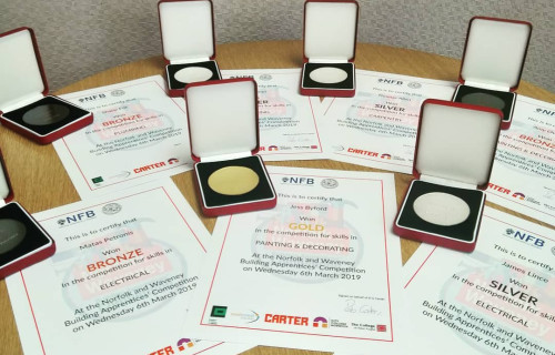 2019 Norfolk and Waveney Building Apprentices Competition medals and certificates