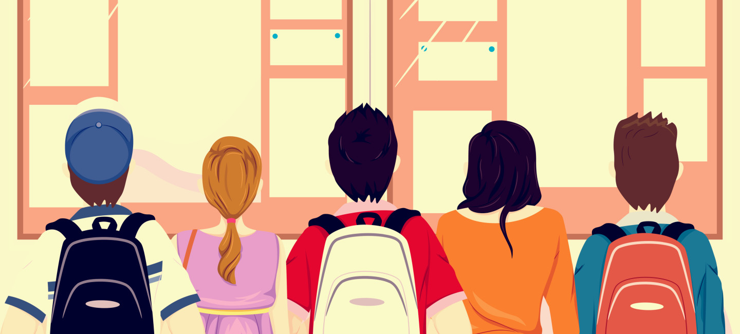Illustration of students looking at noticeboard